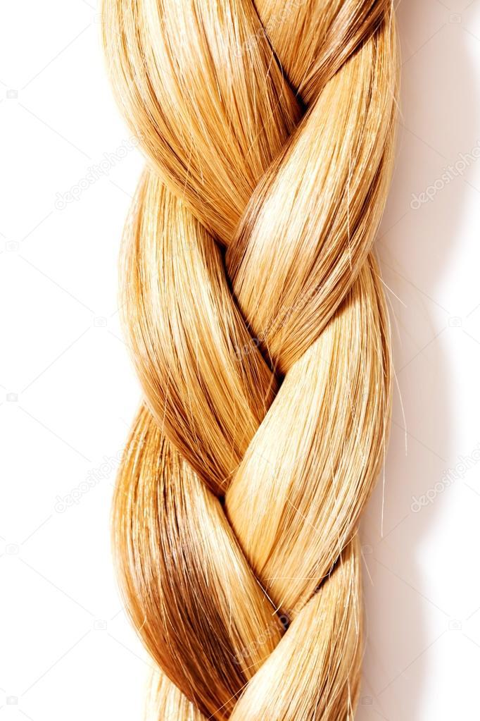 Zopf Frisur Blonde Lange Haare Hautnah Stockfoto
