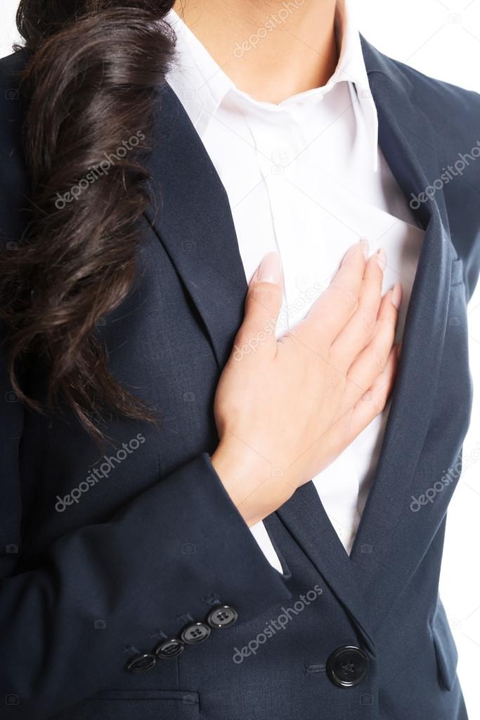 Businesswoman having heart disease