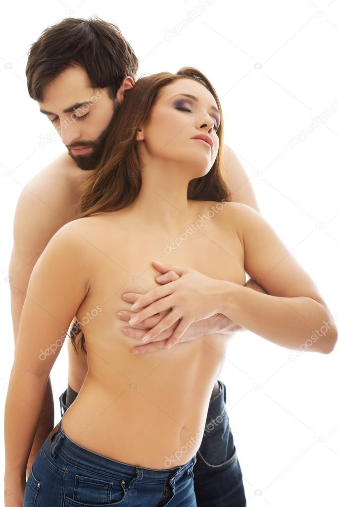 Man Covering Womans Breast  Stock Photo  Piotr -6725