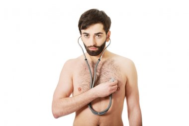 Young man with stethoscope.