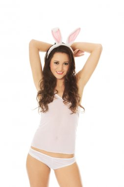 Beautiful woman wearing bunny ears