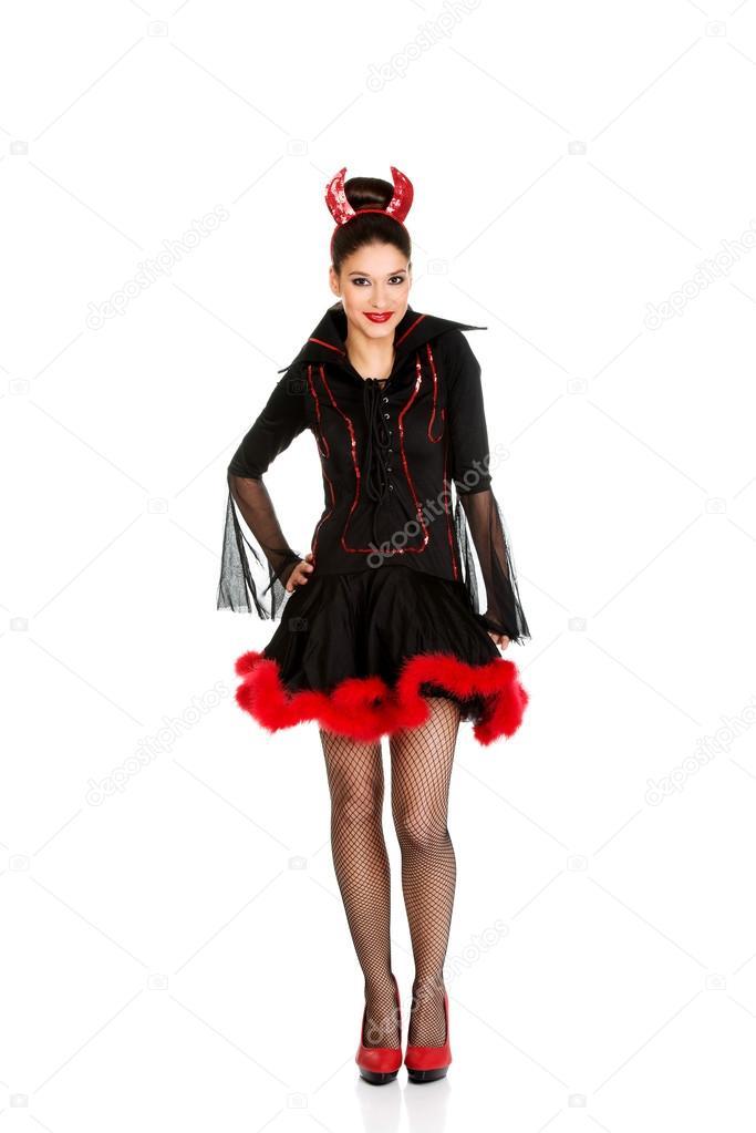 81aa5adee4508af Женщина в карнавальный костюм дьявола– Стоковое изображение