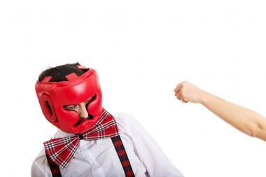 Angry woman slapping across mans face.