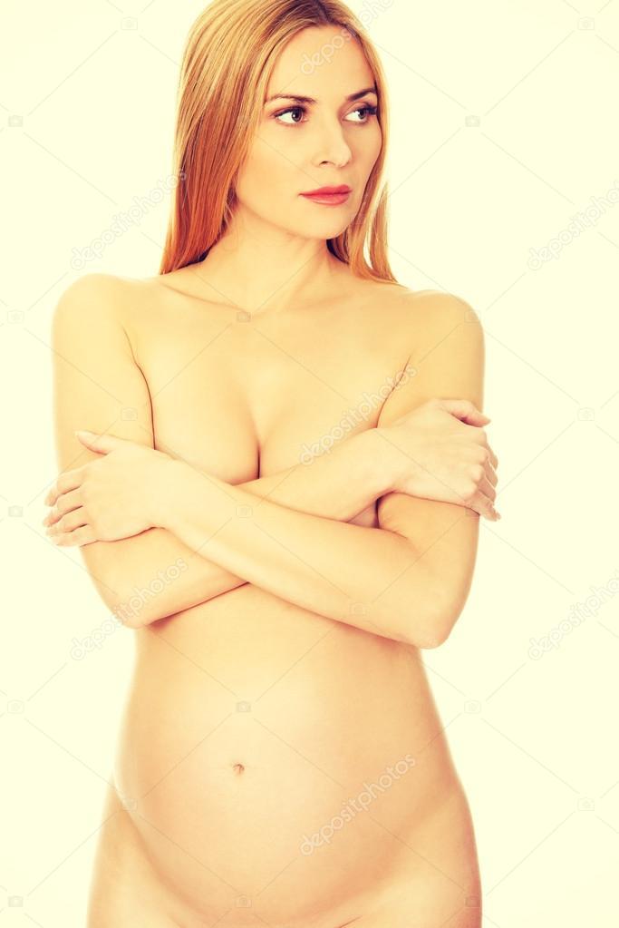 Naken gravid modell