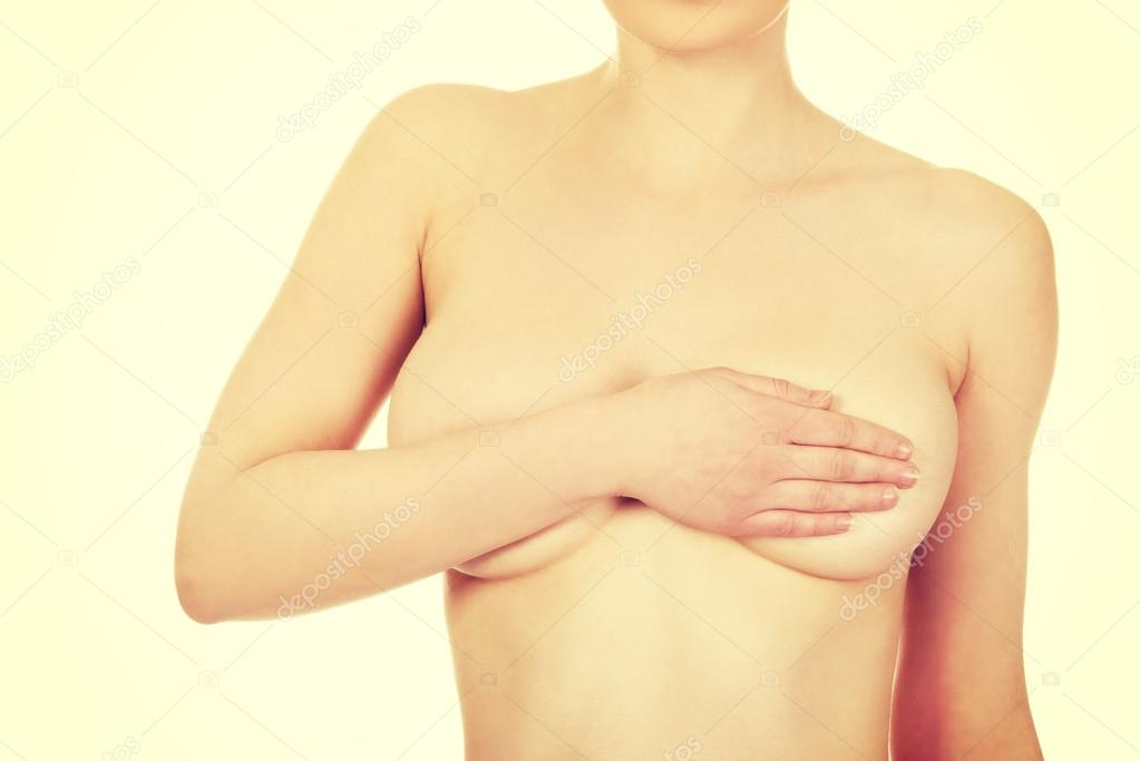 Topless Woman Body Covering Her Breast With Hand Stock Photo