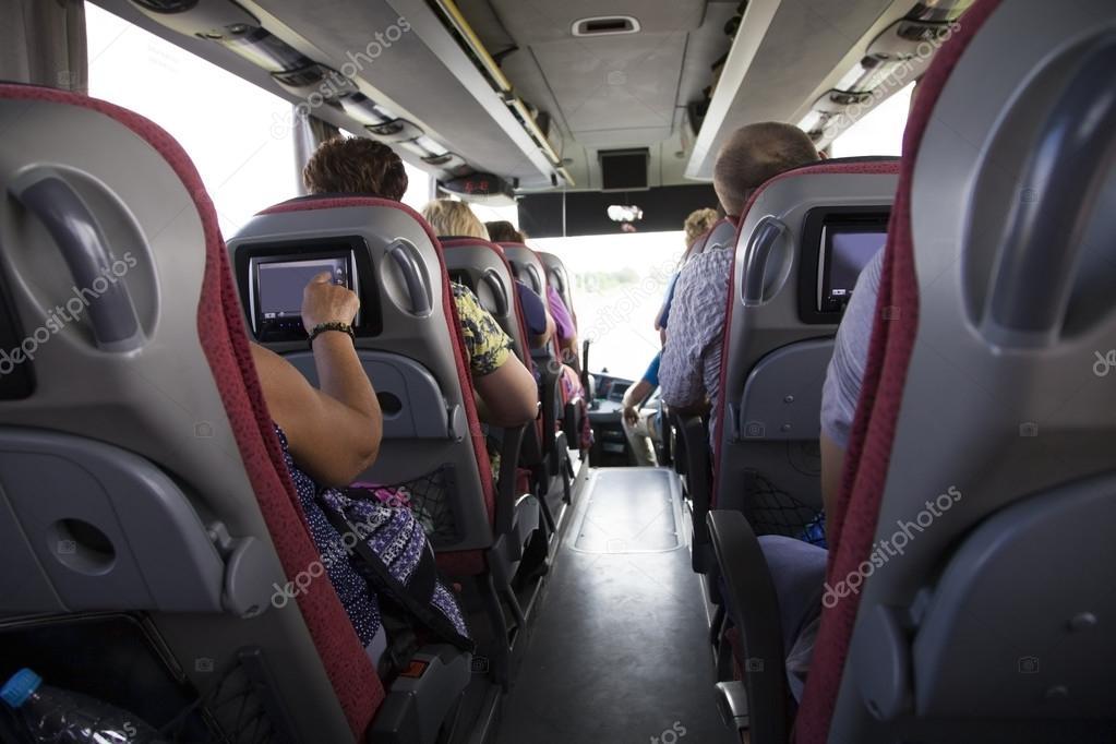 Tourist Bus Interior. People Go On The Tour U2014 Stock Photo