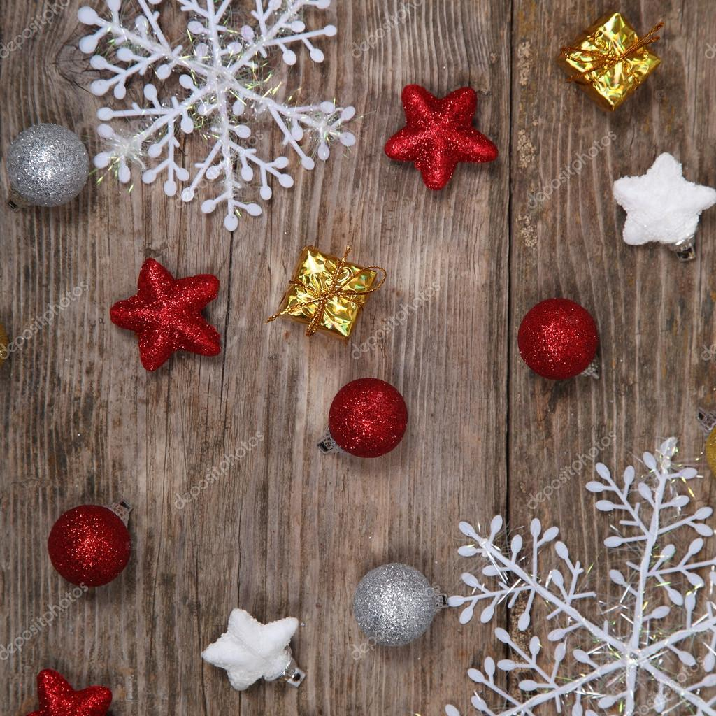 Christmas decorations on an old wooden table — Stock Photo ...