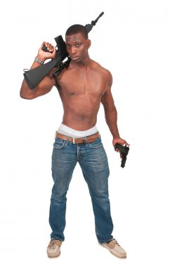 Man with Assault Rifle and Handgun