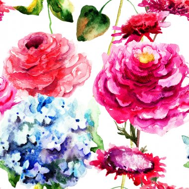 Seamless pattern with Hydrangea and Peony flowers