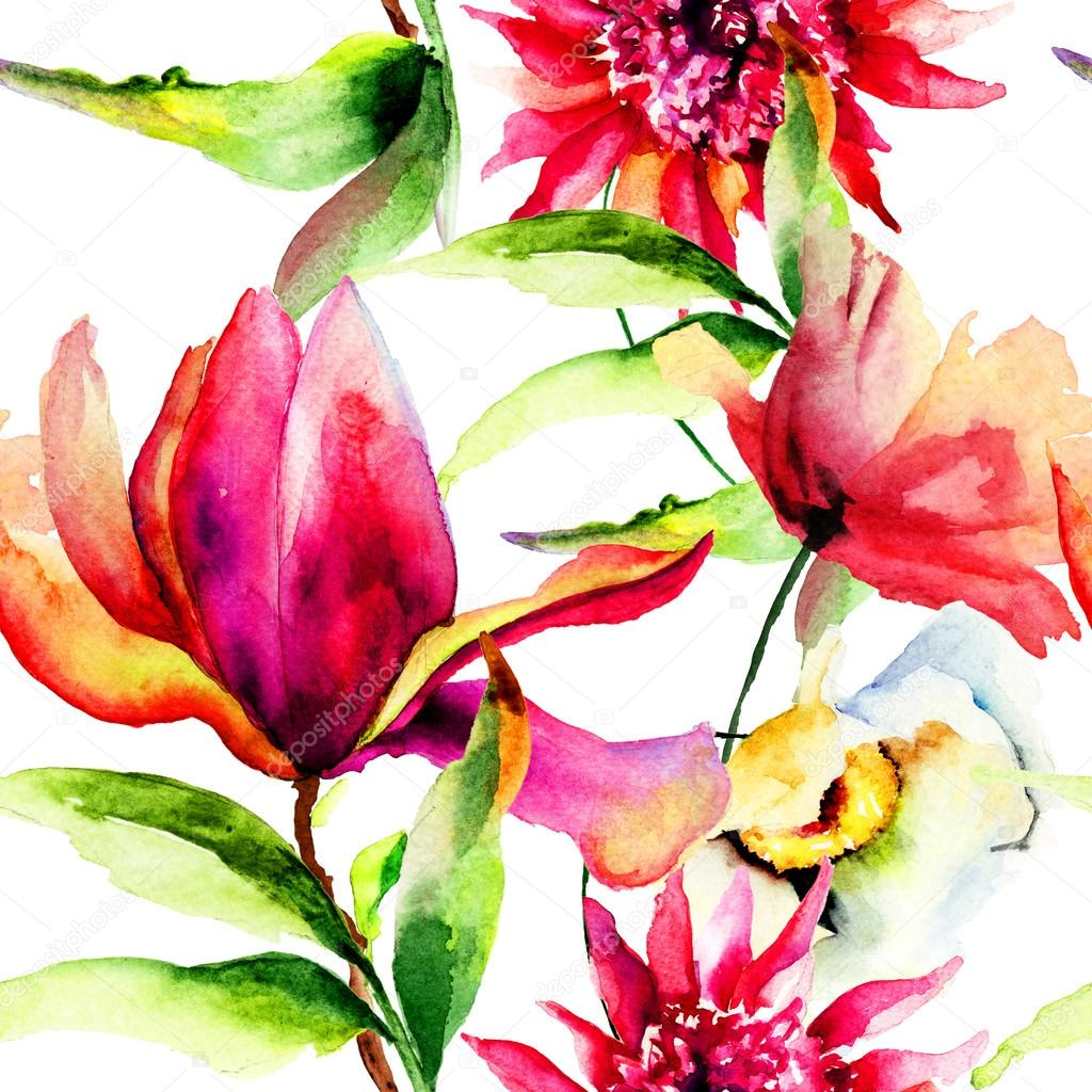 Seamless wallpaper with Colorful Summer flowers