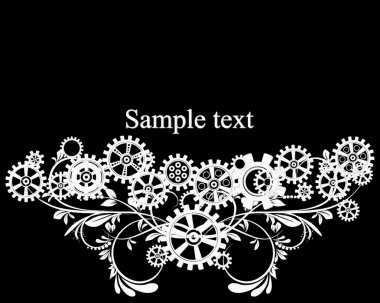 Mechanical background with floral elements