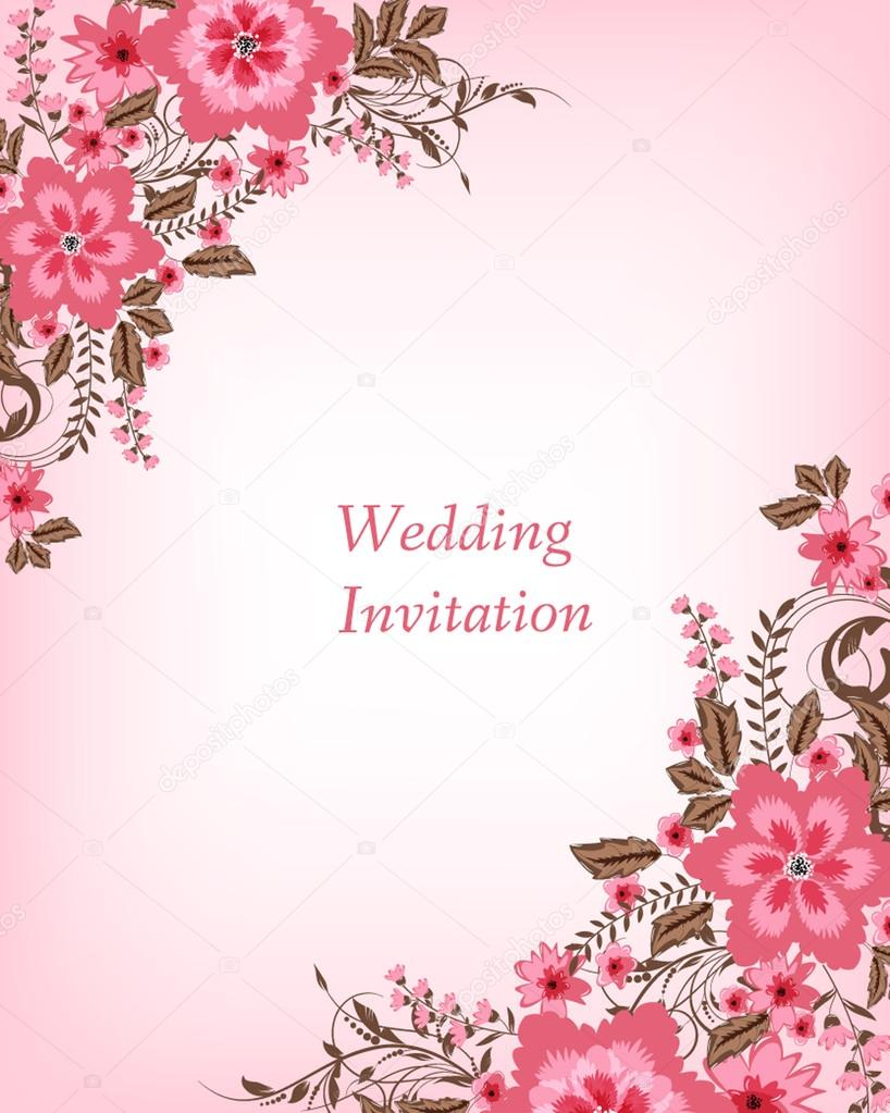Wedding invitation card with flowers — Stock Vector © Mary1507 #72682127