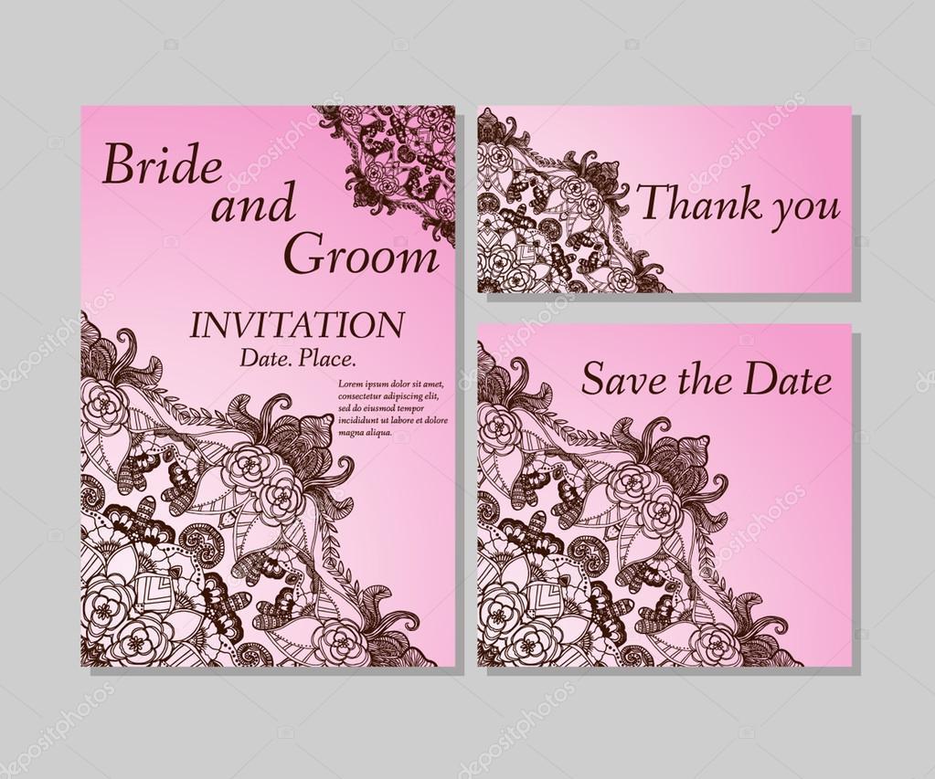 Rosa Blumen Hochzeitseinladung, Dankeskarte, Save Date Karten. Hochzeit Florale  Vektor Set U2014 Vektor Von Mary1507