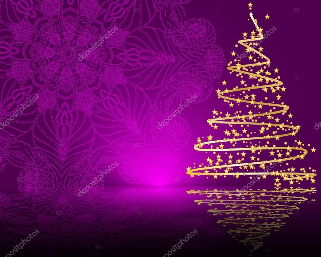 Árbol De Navidad Ilustración 2015 Ultra Hd Wallpapers: Fondo Morado Con árbol De Navidad