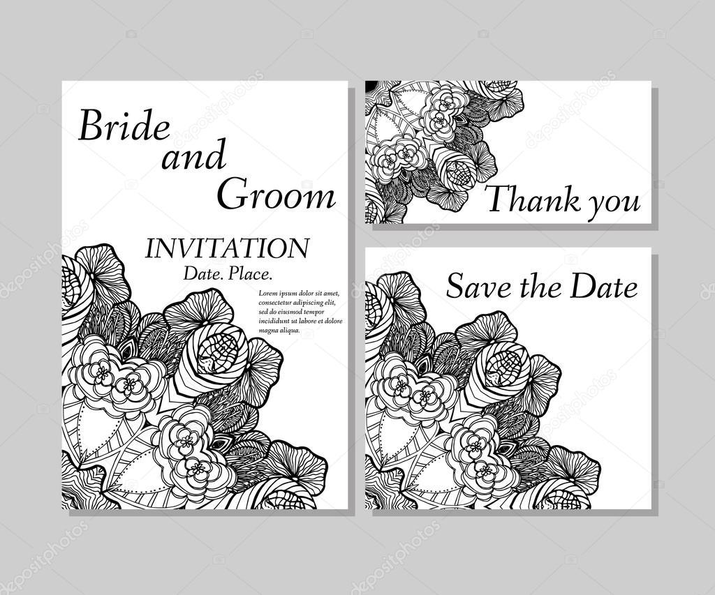Schwarzweiß Floral Hochzeitseinladung, Dankeskarte, Save Date Karten.  Hochzeit Florale Vektor Set U2014 Vektor Von Mary1507