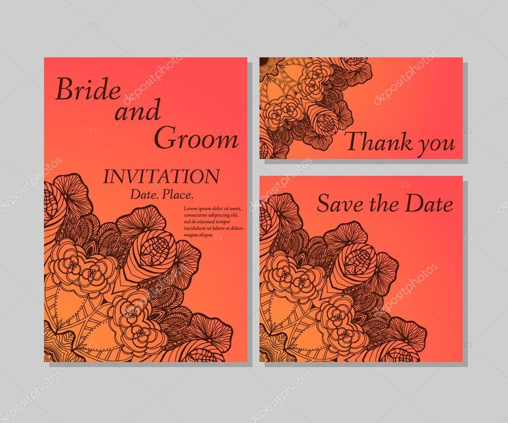 Orange wedding floral invitation — Stock Vector © Mary1507 #86917332
