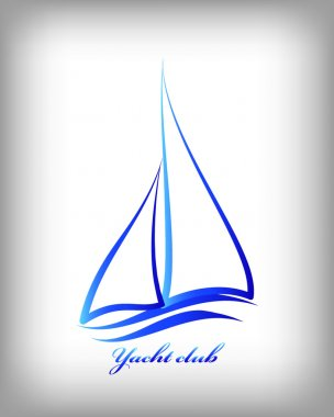 Blue line yacht icon