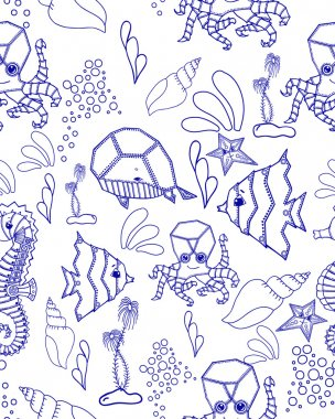 Blue seamless marine pattern