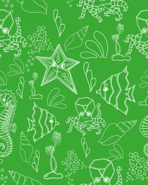 Green seamless marine pattern