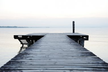 Wooden dock on a beautiful lake