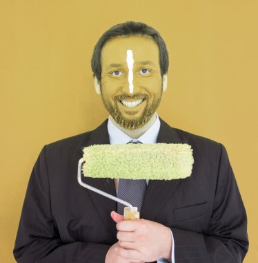 Portrait of adult business man with colorful face
