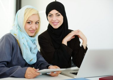 Middle eastern business people working together