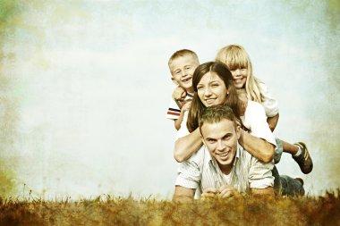 Happy family in nature having fun
