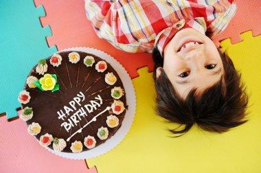 Kid at birthday party in kindergarden playground