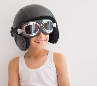Little kid with pilot hat