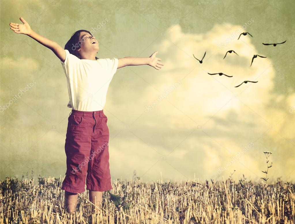 Kid breathing fresh air