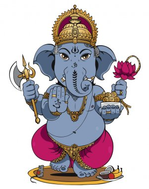 Lord Ganesha of Hindus God on White Background stock vector