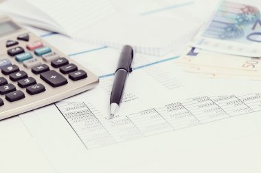 Accounting documents on table
