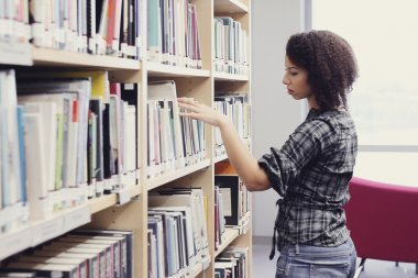 Student woman in library