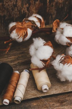 Threads with cotton flower