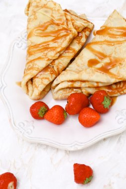 Homemade pancakes with strawberries