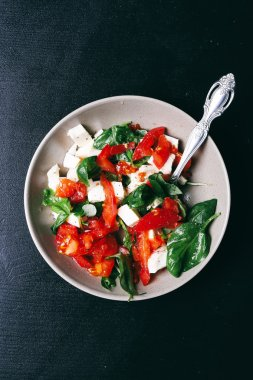 Salad with mozzarella on the table
