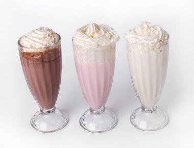 Three different delicious milkshakes