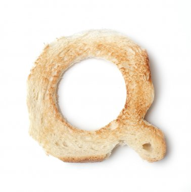 Bread q letter on table