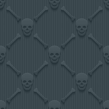 Dark perforated paper with cut out effect. 3d skulls and bones seamless background. Vector EPS10. stock vector