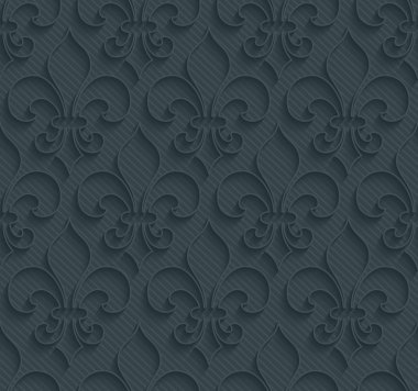 Dark perforated paper with outline extrude effect. 3d seamless wallpaper. Vector background EPS10. stock vector
