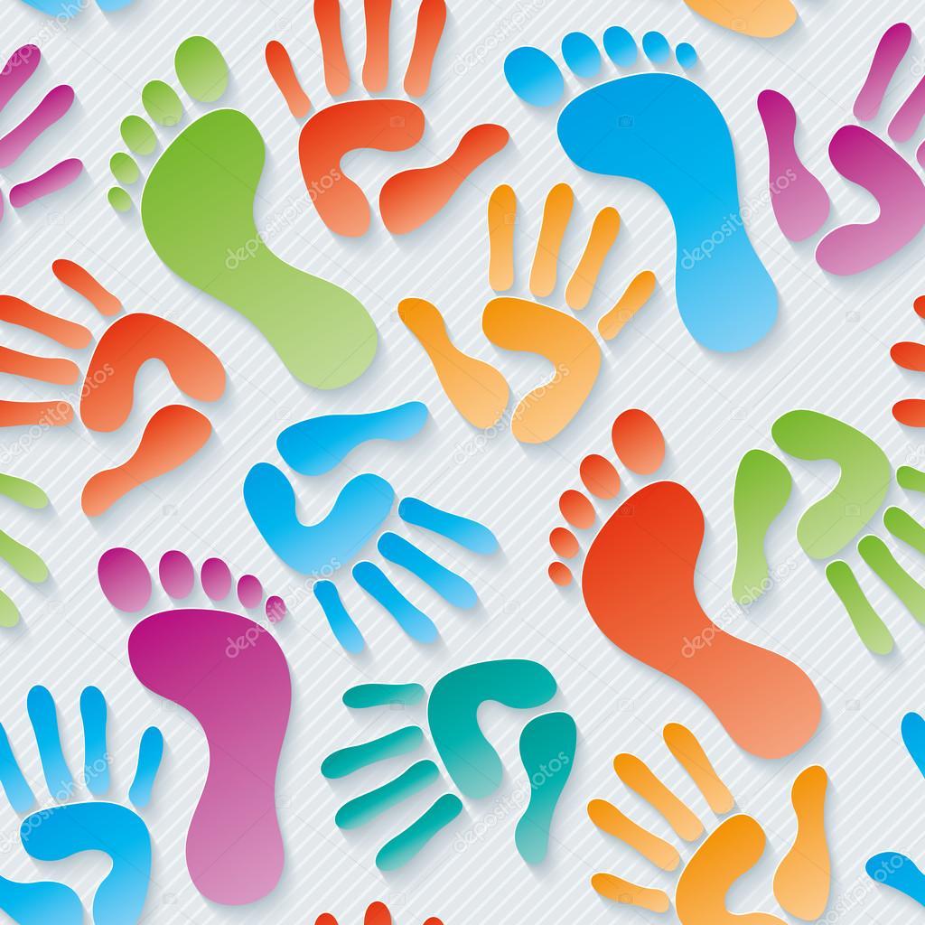 Handprints & footprints 3d seamless wallpaper.