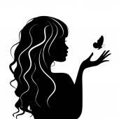 Fotografie vektorové ilustrace krásy ženy s motýl