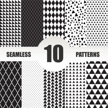 Set seamless geometric patterns.Triangle and rhombus patterns co