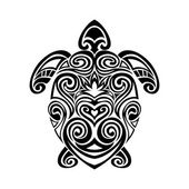 Photo turtle in maori tattoo style. Vector illustrations
