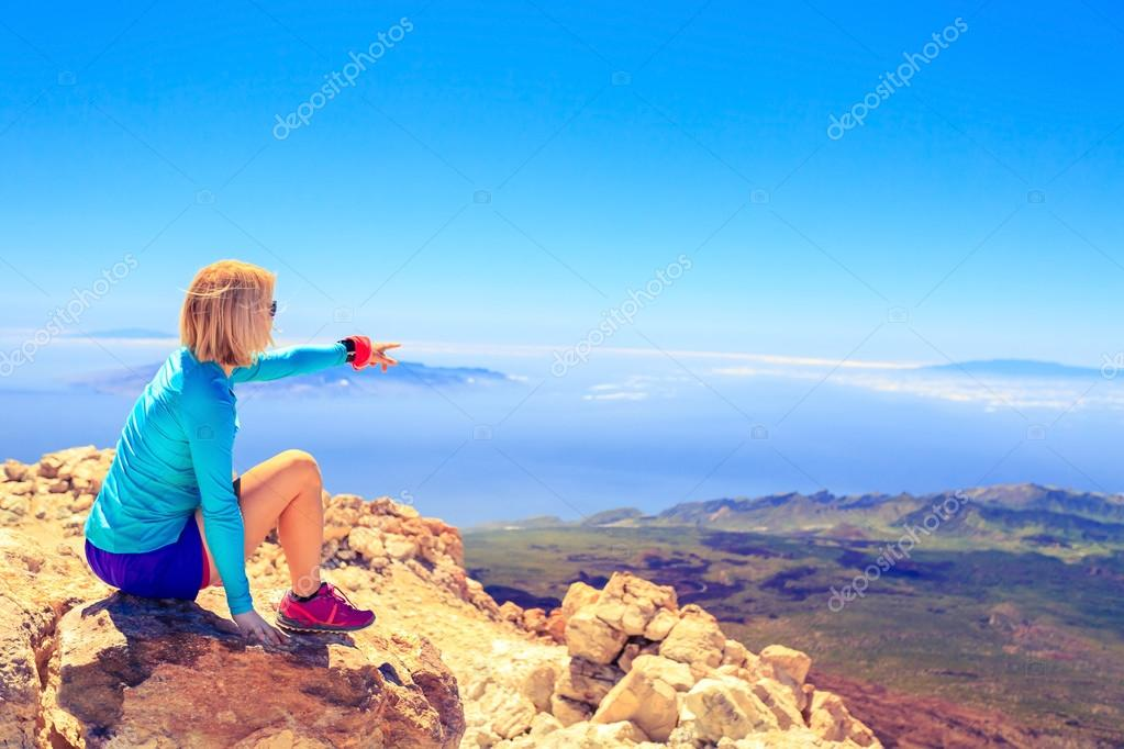 Woman looking at inspirational landscape