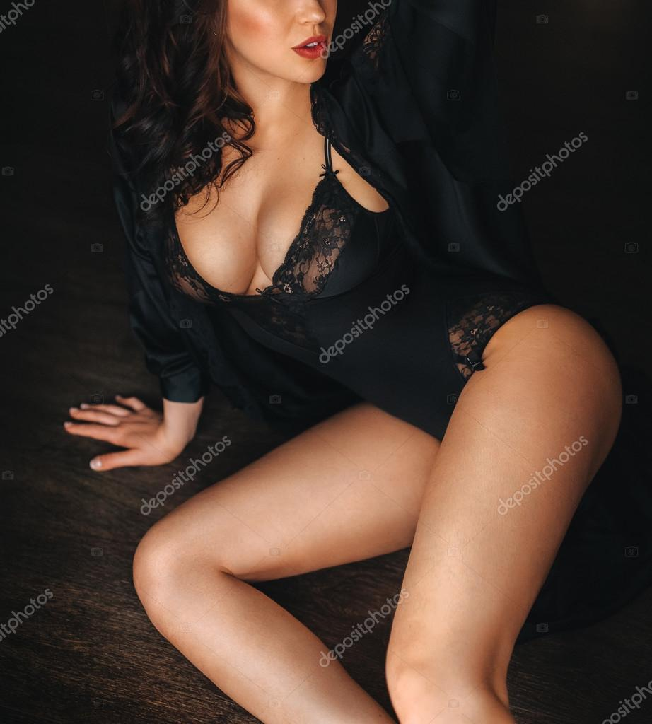 439360f33cb Sexy beautiful brunette girl in black underclothes — Photo by Forewer