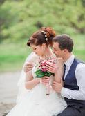 Fényképek Menyasszony és a vőlegény az esküvő napján