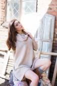 Fotografie krásná žena v teplý svetr