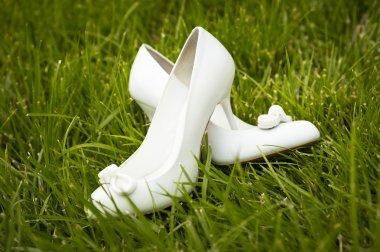 Female white wedding shoes