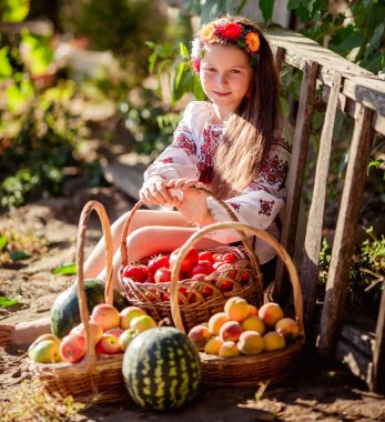 Little Ukrainian girl in summer garden with baskets of ripe fruits and vegetables stock vector